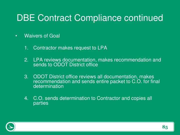 DBE Contract Compliance continued