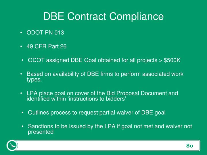 DBE Contract Compliance