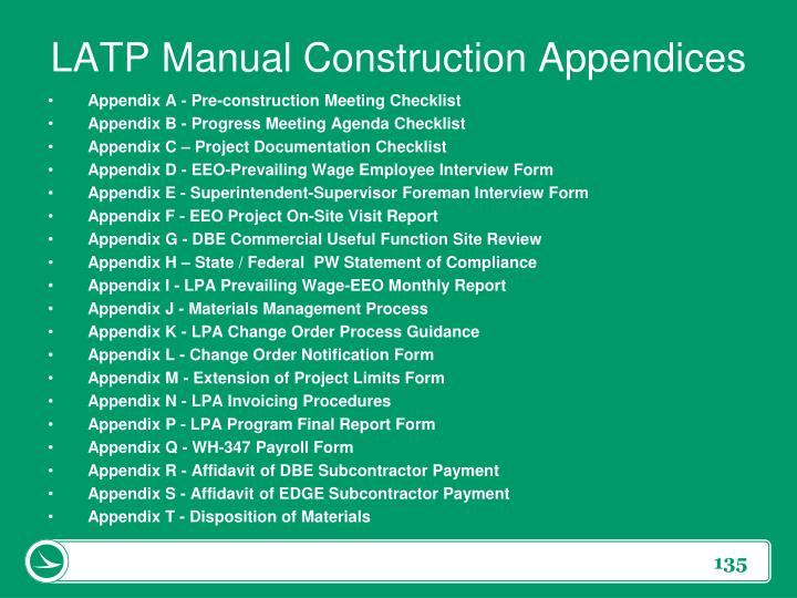 LATP Manual Construction Appendices
