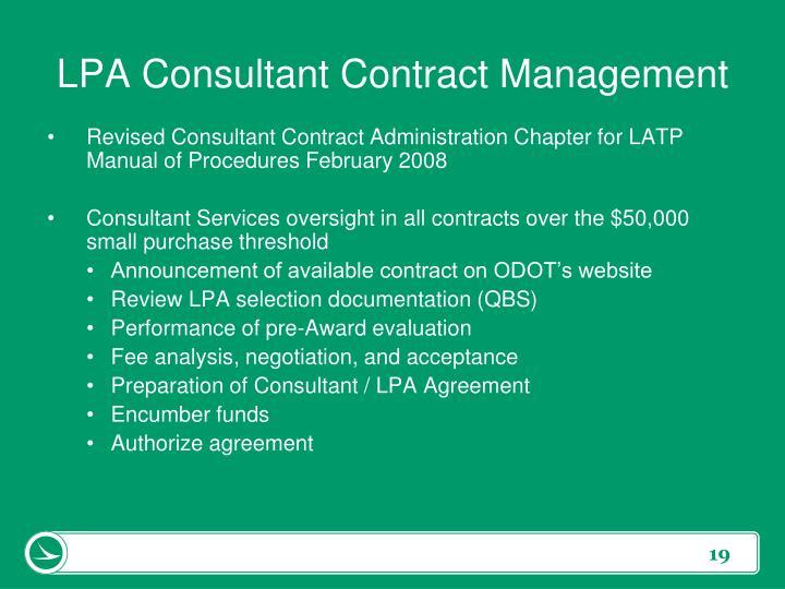LPA Consultant Contract Management