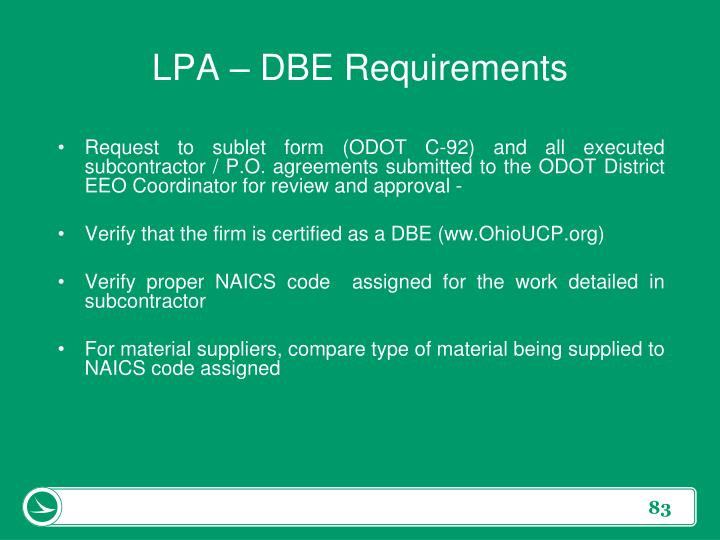 LPA – DBE Requirements