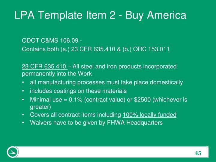LPA Template Item 2 - Buy America