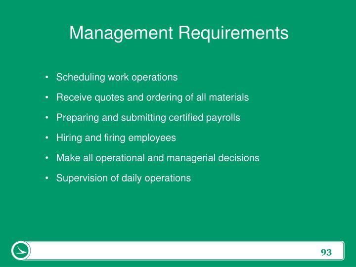 Management Requirements