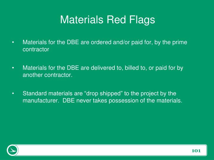 Materials Red Flags