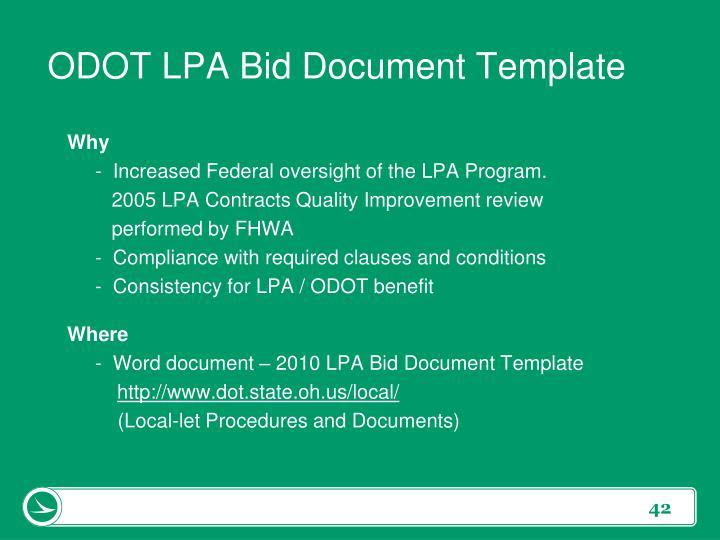 ODOT LPA Bid Document Template