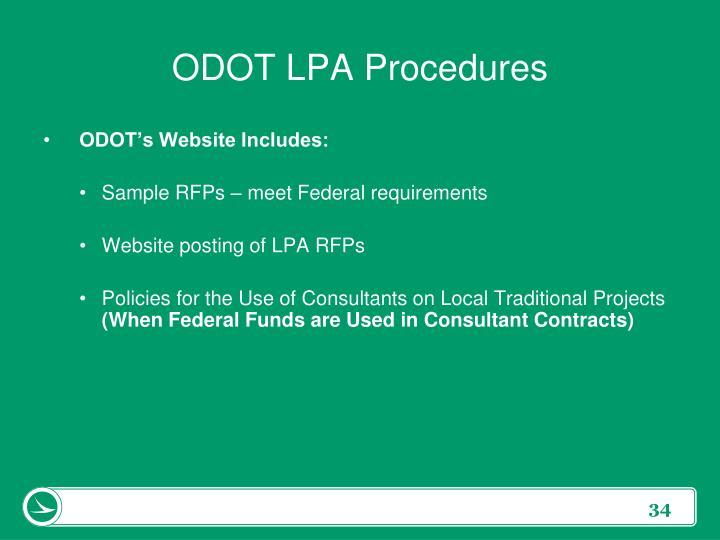 ODOT LPA Procedures