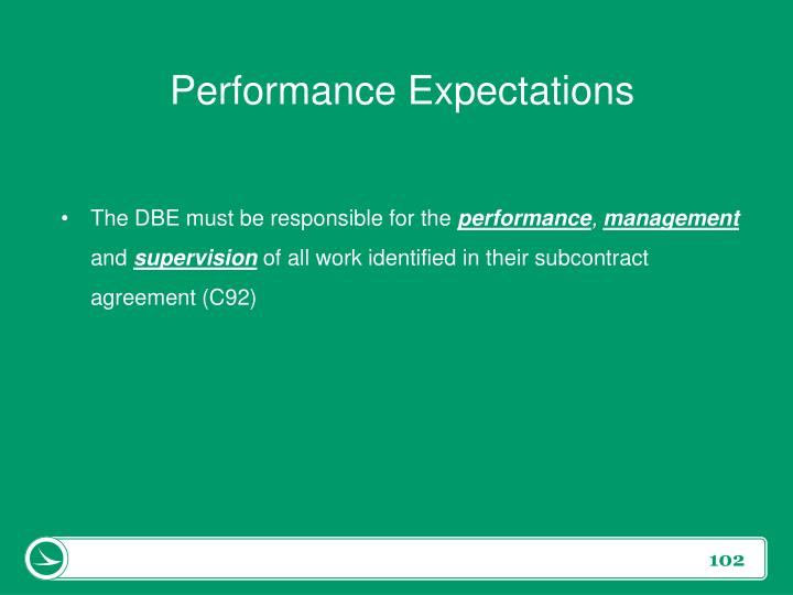 Performance Expectations