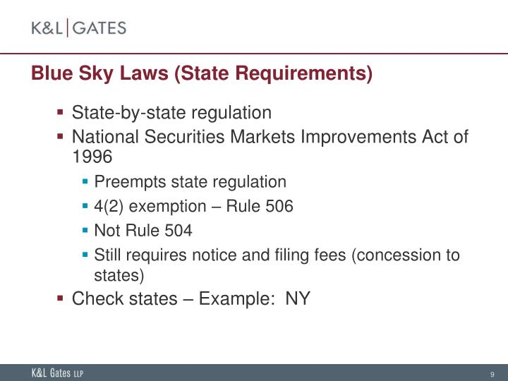 Blue Sky Laws (State Requirements)