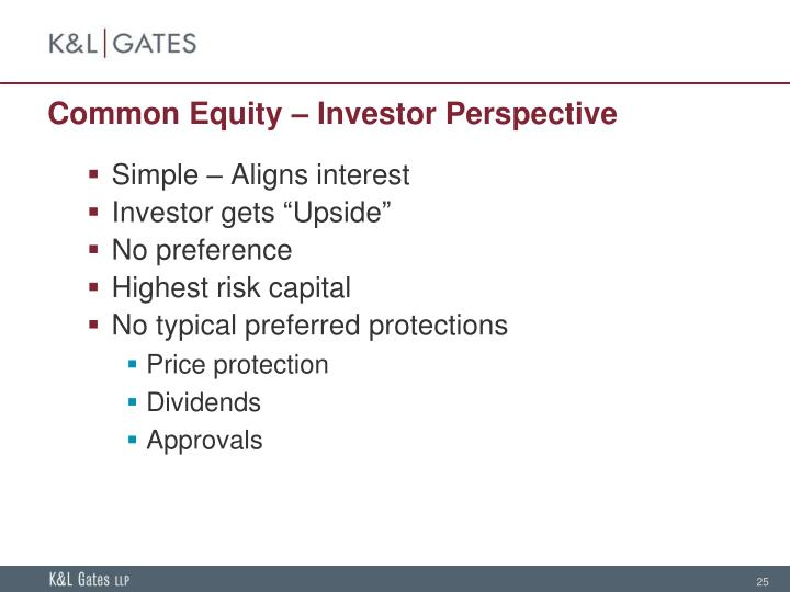 Common Equity – Investor Perspective