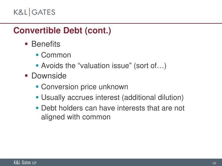 Convertible Debt (cont.)
