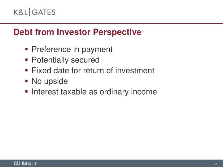 Debt from Investor Perspective