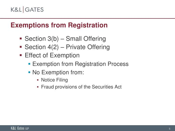 Exemptions from Registration