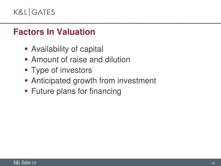 Factors In Valuation