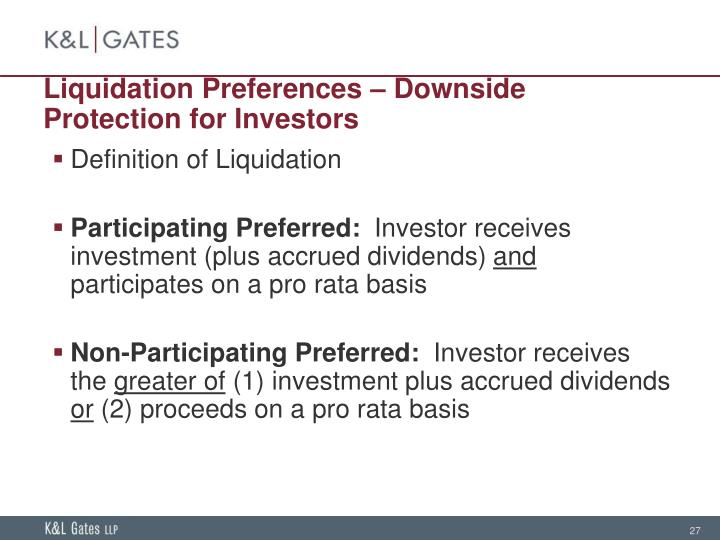 Liquidation Preferences – Downside Protection for Investors