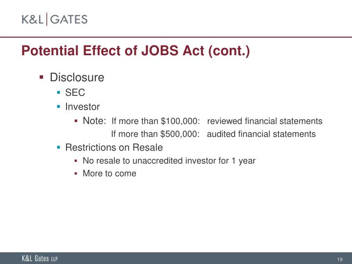 Potential Effect of JOBS Act (cont.)