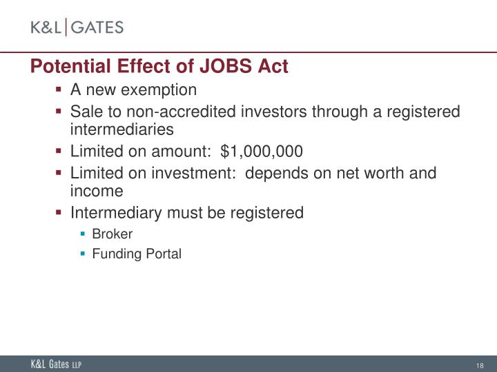 Potential Effect of JOBS Act