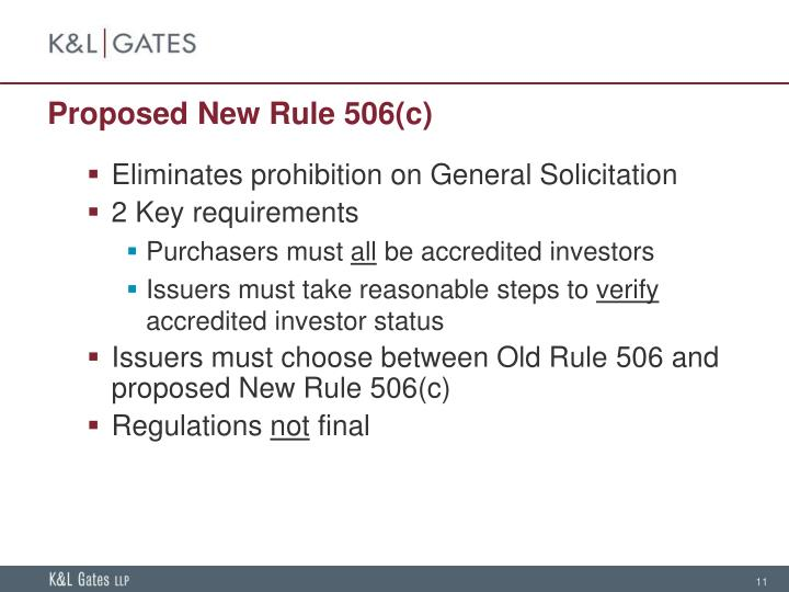 Proposed New Rule 506(c)