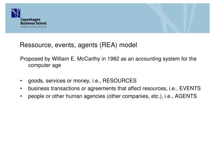 Ressource, events, agents (REA) model