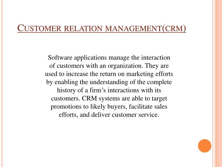 Customer relation management(