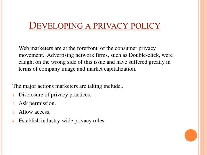 Developing a privacy policy