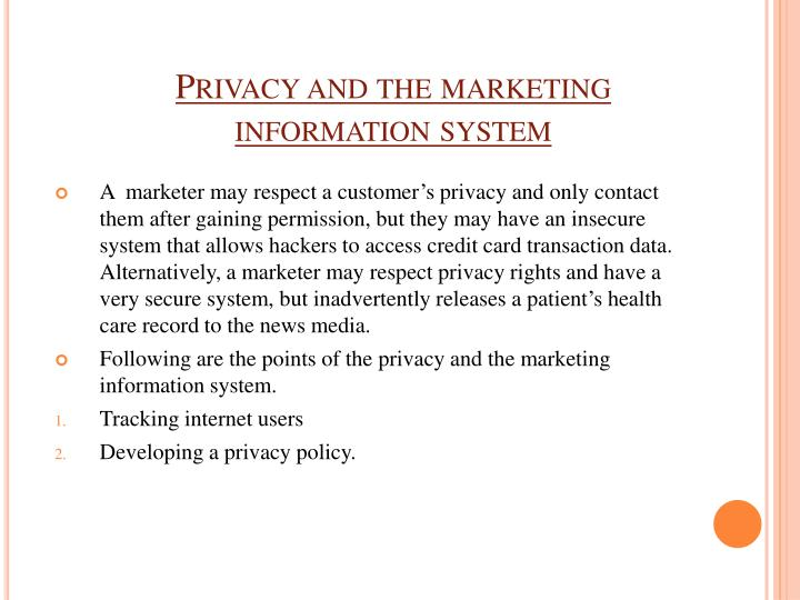 Privacy and the marketing information system