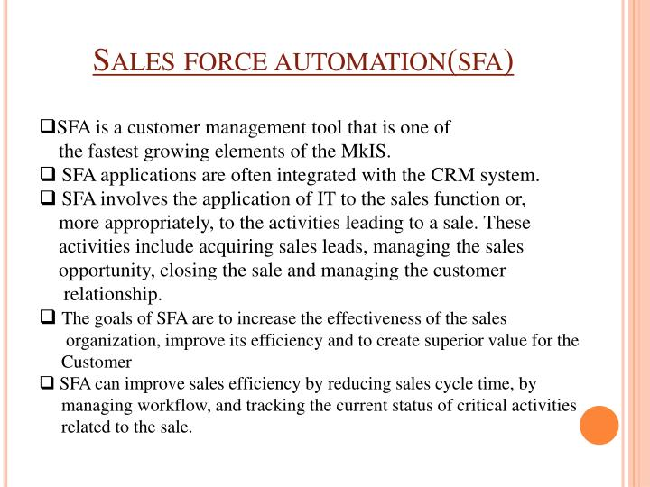 Sales force automation(
