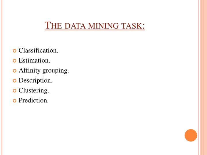The data mining task:
