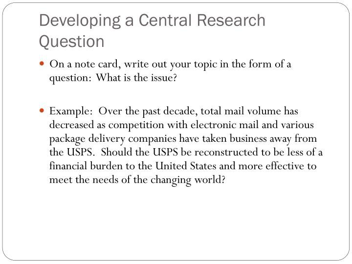 Developing a Central Research Question