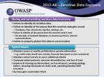2013 a6 sensitive data exposure