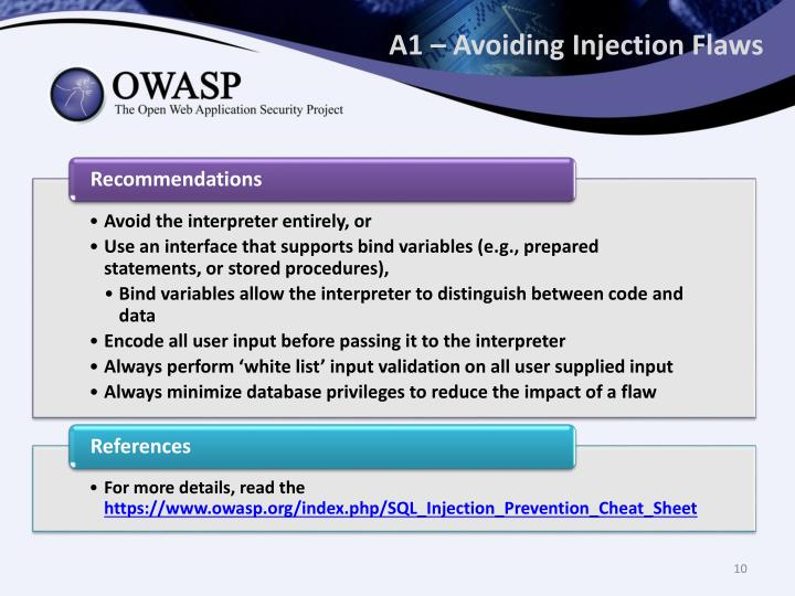A1 – Avoiding Injection Flaws