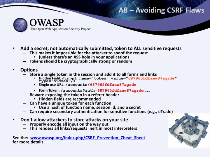 A8 – Avoiding CSRF Flaws