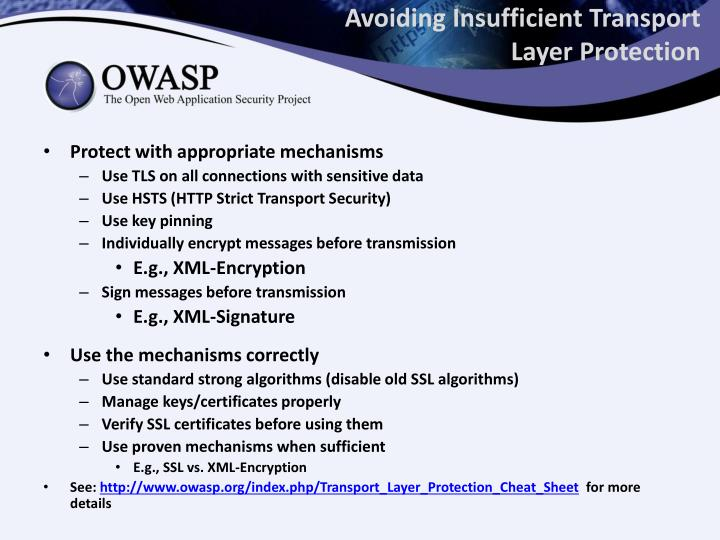 Avoiding Insufficient Transport Layer Protection