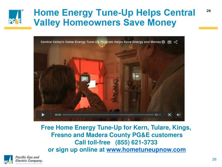Free Home Energy Tune-Up for Kern, Tulare, Kings,