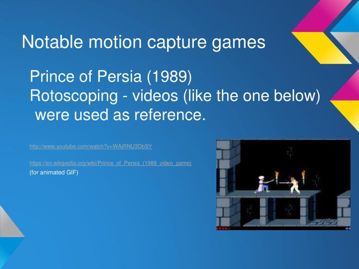 Notable motion capture games