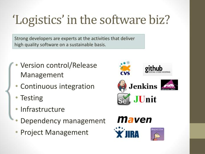 'Logistics' in the software biz?