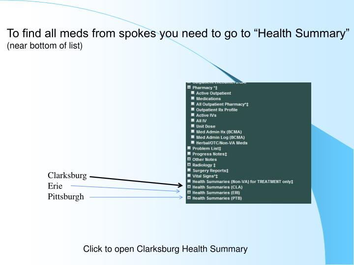 "To find all meds from spokes you need to go to ""Health Summary"""