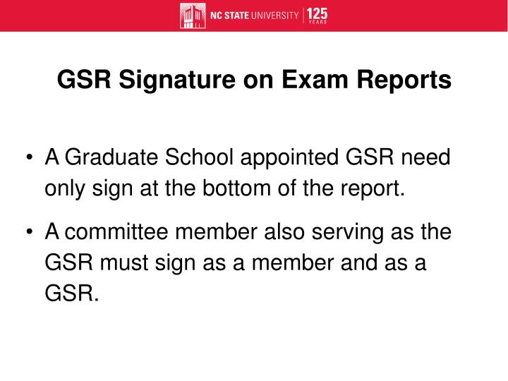 GSR Signature on Exam Reports