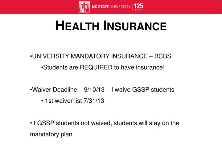 UNIVERSITY MANDATORY INSURANCE – BCBS