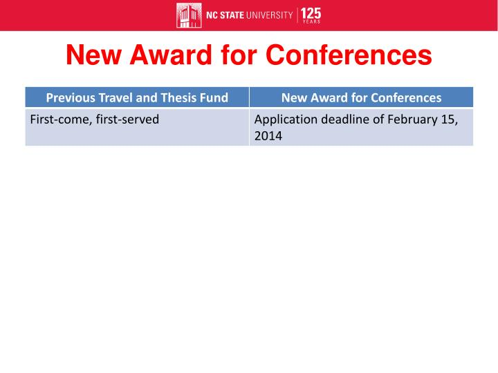 New Award for Conferences