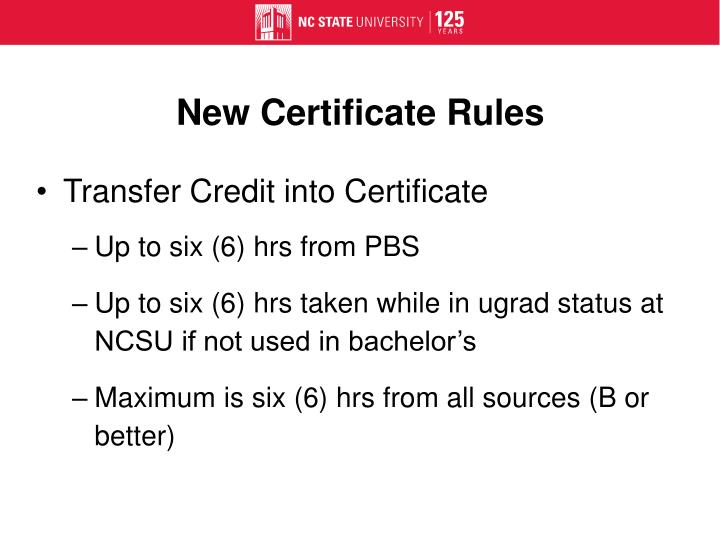 New Certificate Rules
