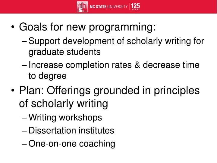 Goals for new programming:
