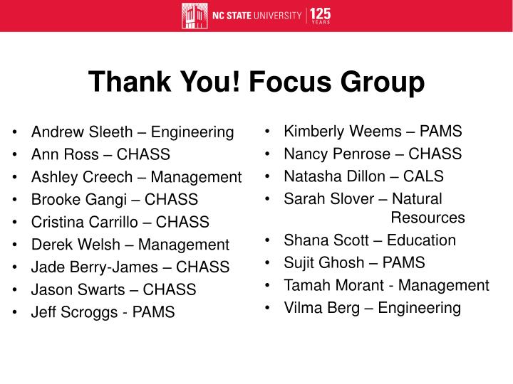 Thank You! Focus Group