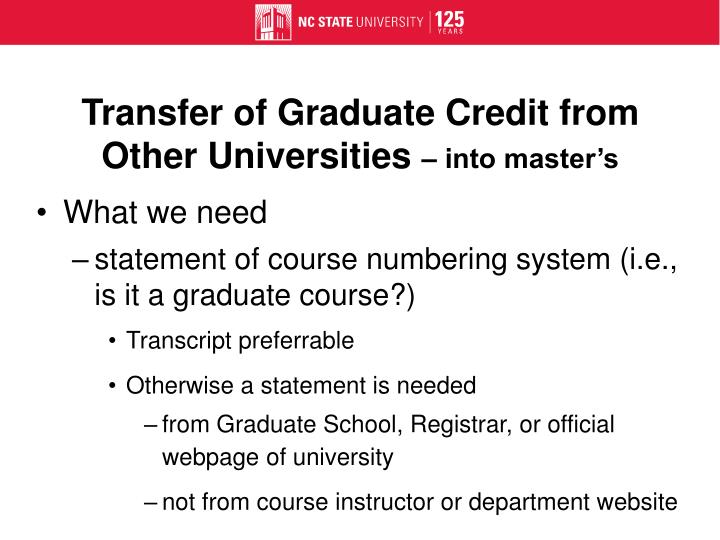 Transfer of Graduate Credit from Other Universities