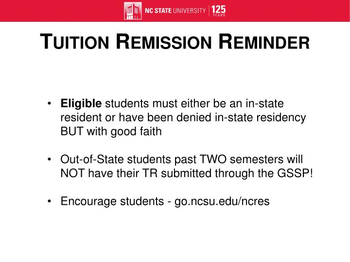 Tuition Remission Reminder