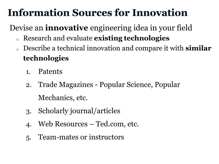 Information Sources for Innovation