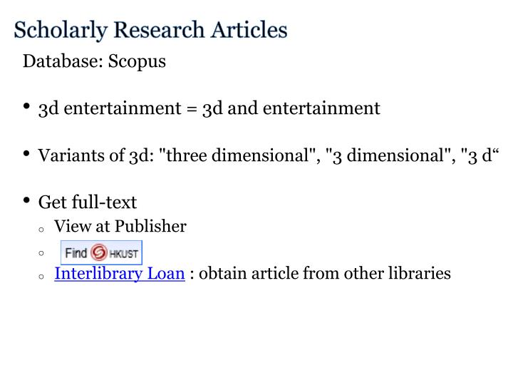 Scholarly Research Articles