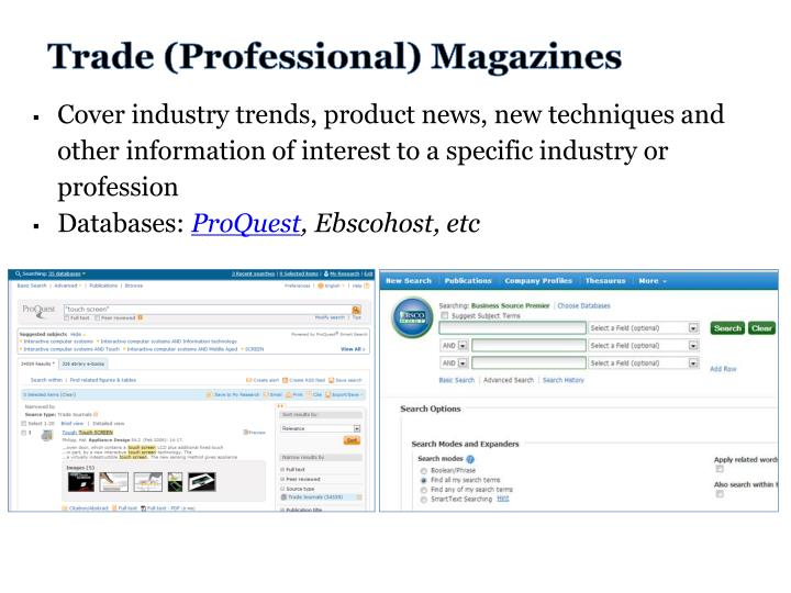 Trade (Professional) Magazines