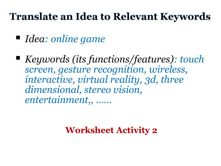 Translate an Idea to Relevant Keywords