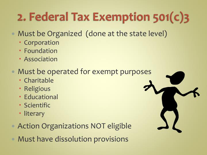 2. Federal Tax Exemption 501(c)3