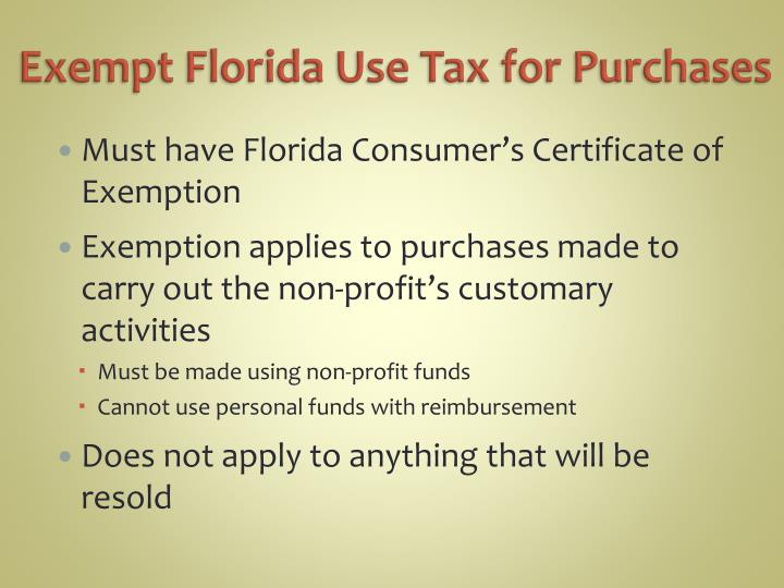 Exempt Florida Use Tax for Purchases